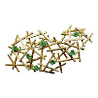 Abstract Vintage 0.18CTW Emerald 18K Yellow Gold Brooch Pin, 8g