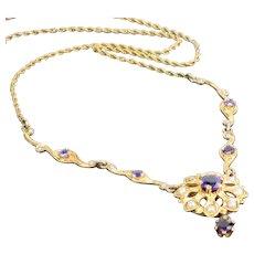Antique Art Nouveau 10K Lavalier Fresh Water Pearls Amethyst Crystal Droplets