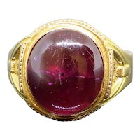 Etruscan Revival Victorian Natural 14CT Rubellite Cabochon 18K Mens Ring size 12