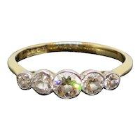 Antique 1910 0.64CTW Five Diamond 18K Gold Engagement Ring 1.8g Size 6.5