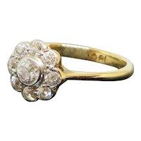 Edwardian 1910 1.2CTW Halo Diamond 18K Gold Engagement Ring 2.4g Size 6.25