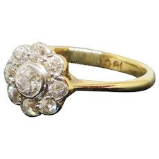 Edwardian 1910 1.2CTW Halo Diamond 18K Gold Engagement Ring 2.4g Size 6.25