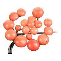 Vintage 1920s Orange Coral Pin Brooch in 800 Silver, 4.6g