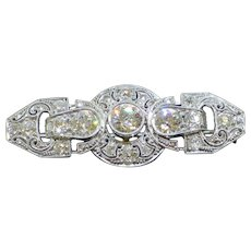 Stunning Art Deco 1930 2.2CTW Diamond 14K White Gold Bar Brooch, 6.1g