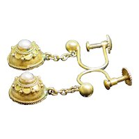 Rare Antique Victorian 1860 Etruscan Revival 9K Gold & Seed Pearl Earrings 2.2g