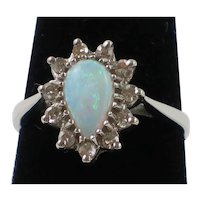Teardrop Brazilian Opal and Diamond accent 14K white gold ring size 4 1/2