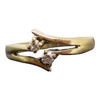 Vintage Two Diamond 9K Yellow Gold Ring, 1.8g, Size 5.25