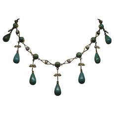 """Rare Victorian c1890 Turquoise and Pearl 14K Gold Festoon Necklace 14.5"""" 14.7g"""