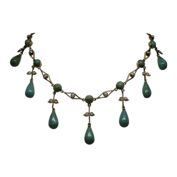"Rare Victorian c1890 Turquoise and Pearl 14K Gold Festoon Necklace 14.5"" 14.7g"