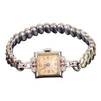 Vintage Wittnauer 0.1CTW Diamond 14K White Gold Ladies Watch, 15.4g