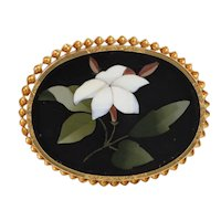 Antique Victorian c1870 Pietra Dura White Jasmine 14K Yellow Gold Brooch / Pin, Italy, 16.5g