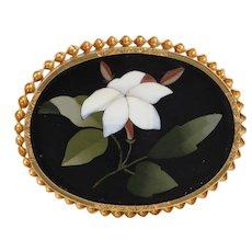 Antique Victorian c1870 Pietra Dura White Jasmine 14K Yellow Gold Brooch / Pin, Italy, 16.5g