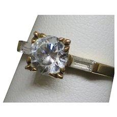 Vintage 1.1 CT Solitaire Rock Crystal (Quartz) 14k Gold Ring, 2.3g, size 6.5
