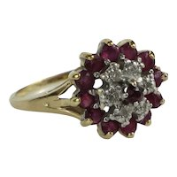 Vintage Two Layer Pink Spinel and Diamond 10K Gold Ring, 2.7g, size 6