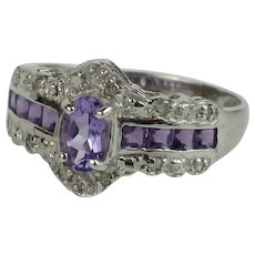 Vintage Amethyst and Diamond 10K White Gold Ring, 1.7g, size 6 3/4