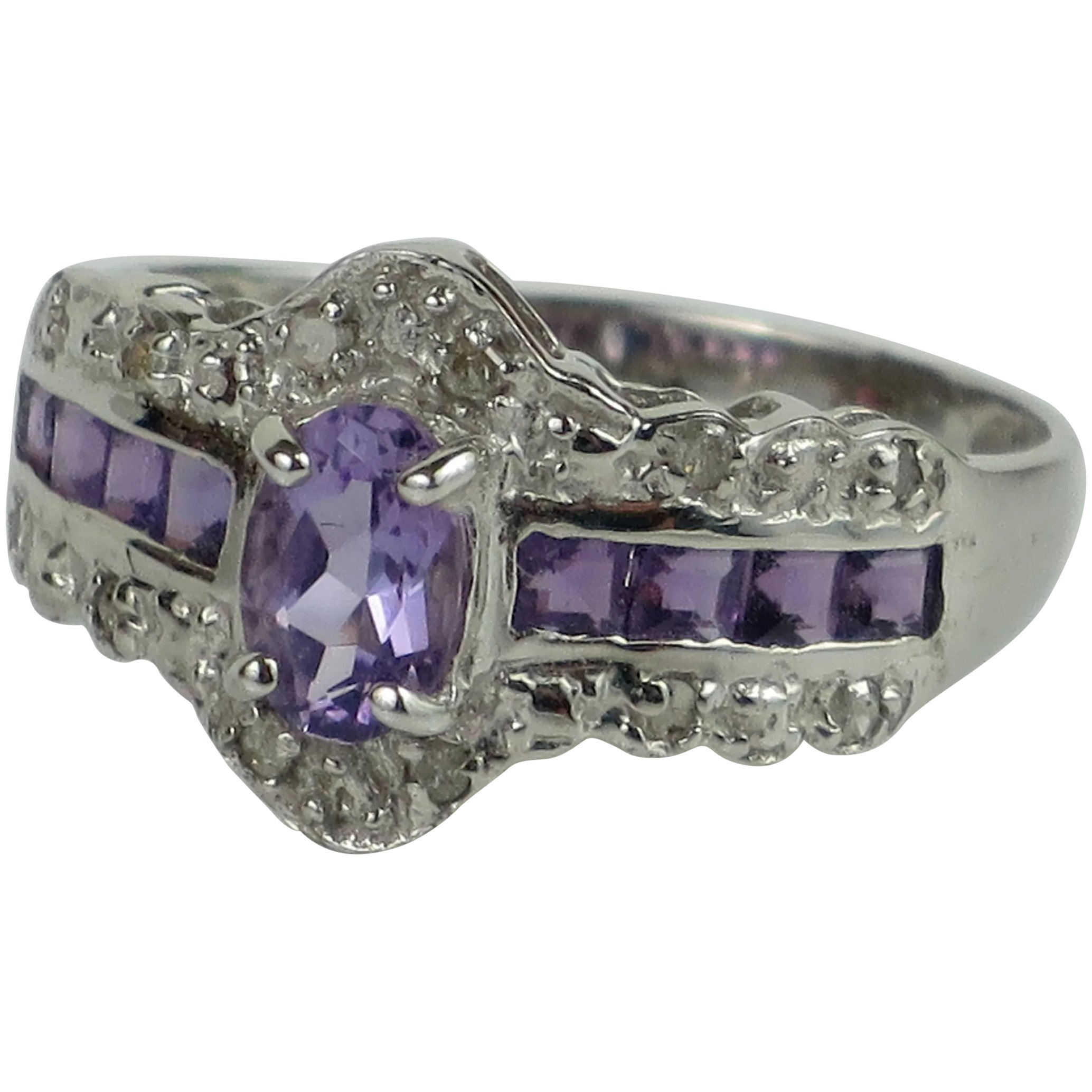 Pretty Vintage New 10K Yellow Gold Dark Amethyst Signature  Birthstone Ring with Double Shank Design Weighs 1.41 g Size 6.5