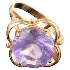 Vintage Large 5.5CT Amethyst 14K Yellow Gold Cocktail Ring, 3.9g, size 7 1/2