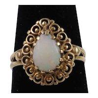 Victorian Etruscan Revival Teardrop Brazilian Opal 10K Gold Filigree Ring size 4 3/4, 2.5g