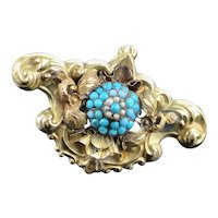 Rare Antique Victorian c1850 Austro-Hungarian Turquoise 18K Gold Brooch Pin 8.8g