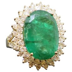 Amazing 16.4CT Natural Emerald & Diamond 14K Ring with $44,000 Appraisal, 12g size 7