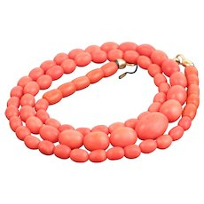 Vintage Natural Coral Bead Necklace 17.4g with 14k gold clasp