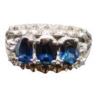 Stunning Vintage 1.1CTW Sapphire & Diamond 18K White Gold Ring, 4.2g