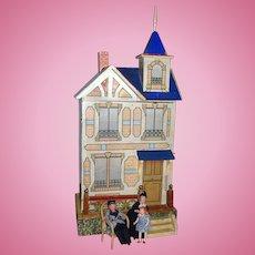Antique Gottschalk dollhouse blue roof