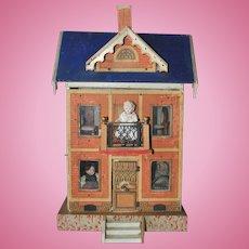 Blue roof rare antique Gottschalk doll house 1890 - 1900