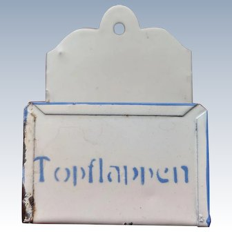 Blue and white German tin caddy