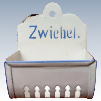 "Pretty antique German Tin bin marked in German word ""Zwiebel"" (Onion)"