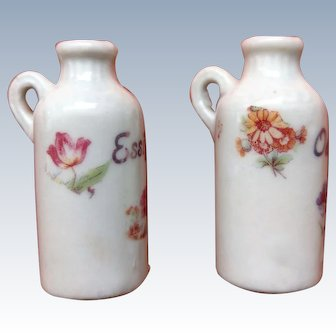 German set of colorful painted pitchers - 1910