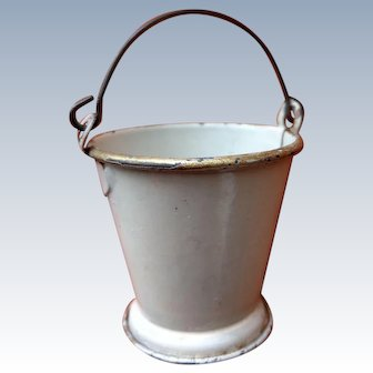 Rare antique German Tin Bucket white golden rim