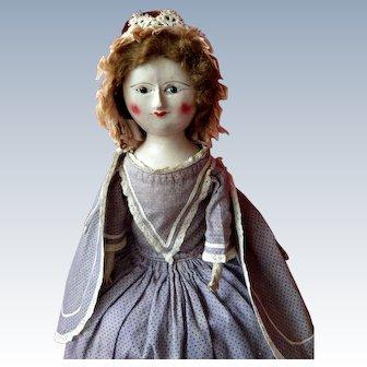 Amazing Early Wooden Georgian Queen Ann Doll