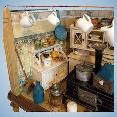 Rare and very pretty Gottschalk dollhouse kitchen