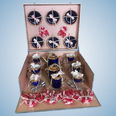 Fabulous French Antique Doll Dishes in Presentation Box marked A,B. Paris