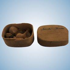 "Wonderful antique box ""Fräulein Frieda"" filled with turned wooden Tea Set"