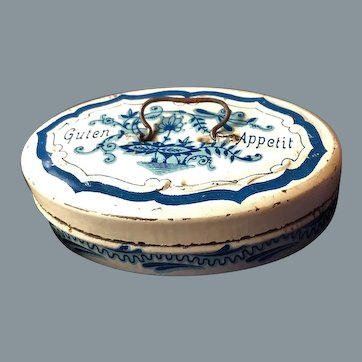 Antique Marklin blue and white hand-painted bread box approx 1890-1900