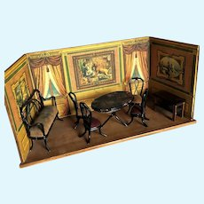 Amazing Rare Lithographed Room Box - 1880-1900