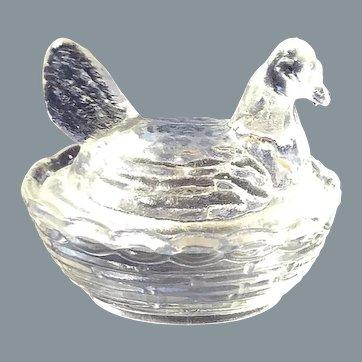 Lovely Antique Glass Butter Hen - approx 1920