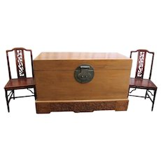 Antique Chinese Elmwood Trunk on Carved Base