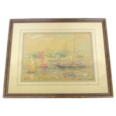 """""""Rockport"""" Signed Dated Original Crayon Drawing by Reynolds Beal-1944"""
