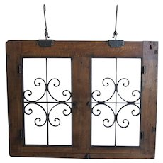 Antique Wrought Iron and Wood Hanging Window-circa 1860