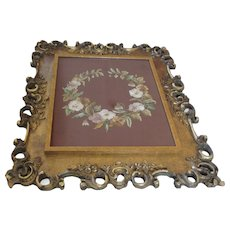 Rococo Framed Antique Hand Embroidered Floral Wreath