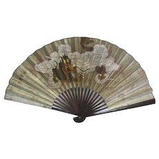 Medium Vintage Painted Dragon Folding Fan