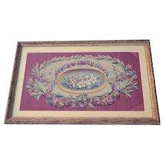 Framed 18th Century Floral Aubusson Carton