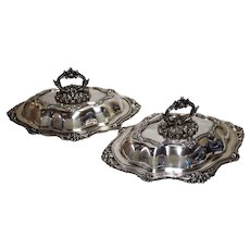 W&G Sissons Silver-Plated Covered Vegetable Tureens