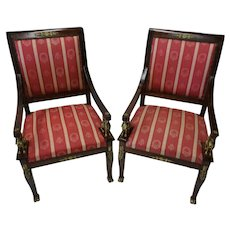 Antique Pair of French Empire Napoleon Open Arm Chairs
