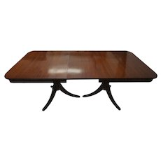 Lentz Table Co. Mahogany Double Pedestal Dining Table with Leaves