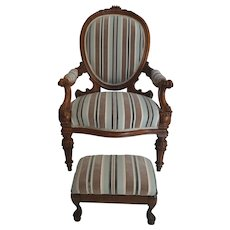 Antique Walnut Louis XVI Fauteuil and Footstool