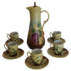Antique Hand Painted Porcelain GOA Chocolate Pitcher with Carl Tielsch Cups